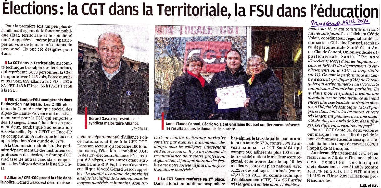 La Provence CGT Territoriaux Santé 04