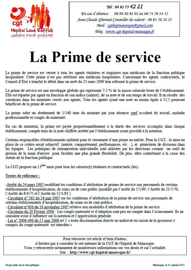 Prime de service 2015