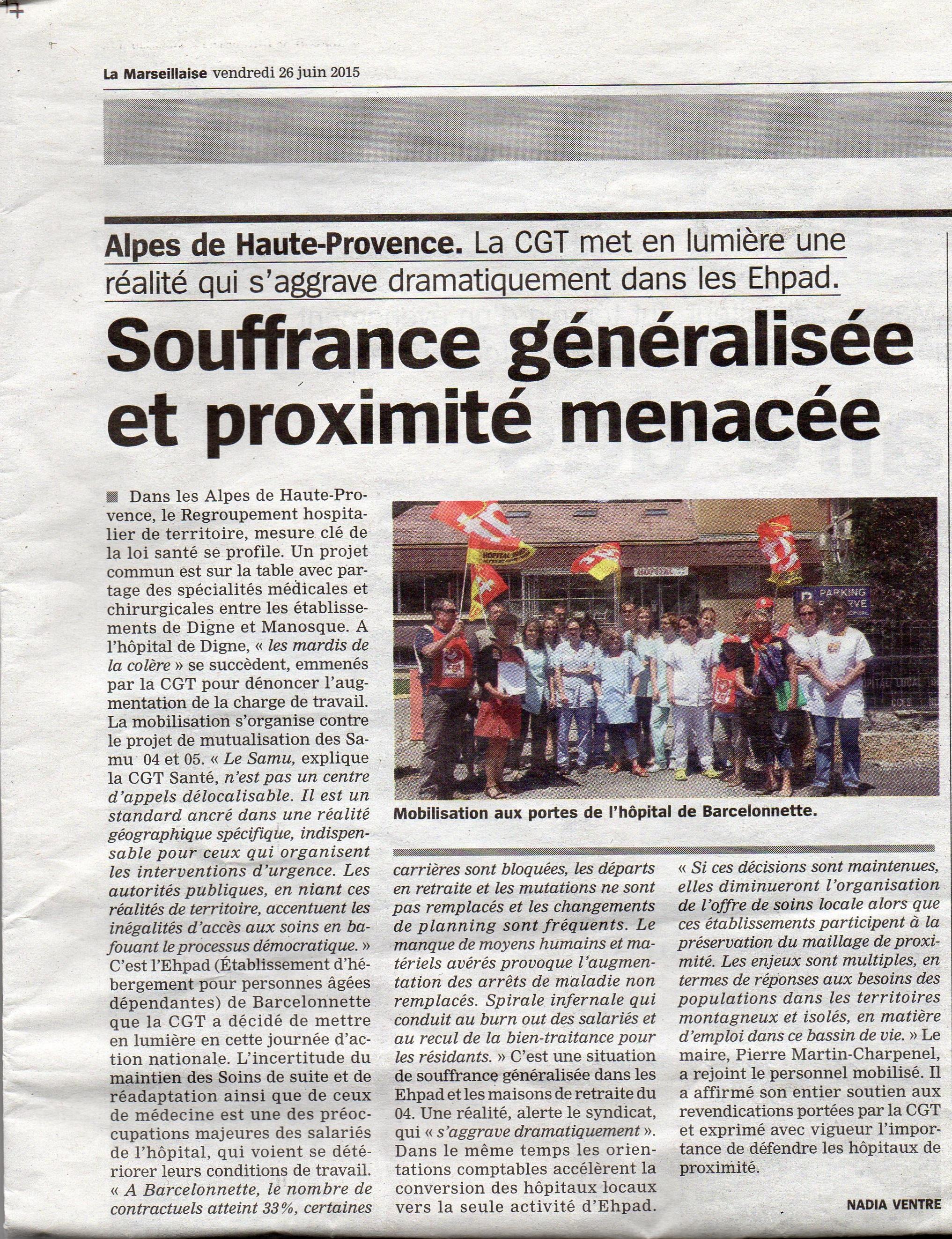 Article La Marseillaise du 26 juin 2015