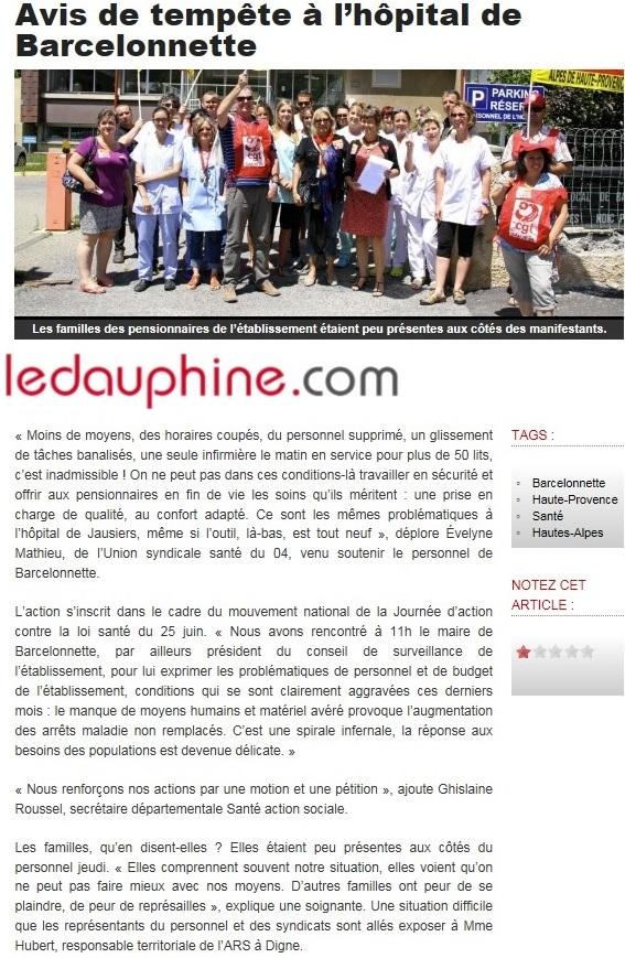 Article Le Dauphiné du 27 juin 2015