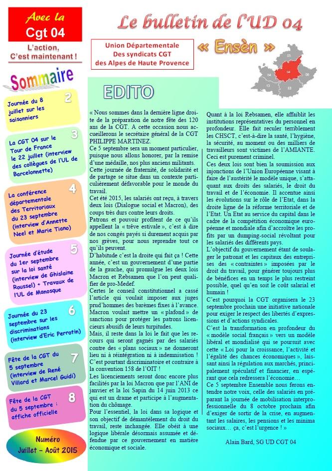 Journal UD CGT 04 juillet août 2015