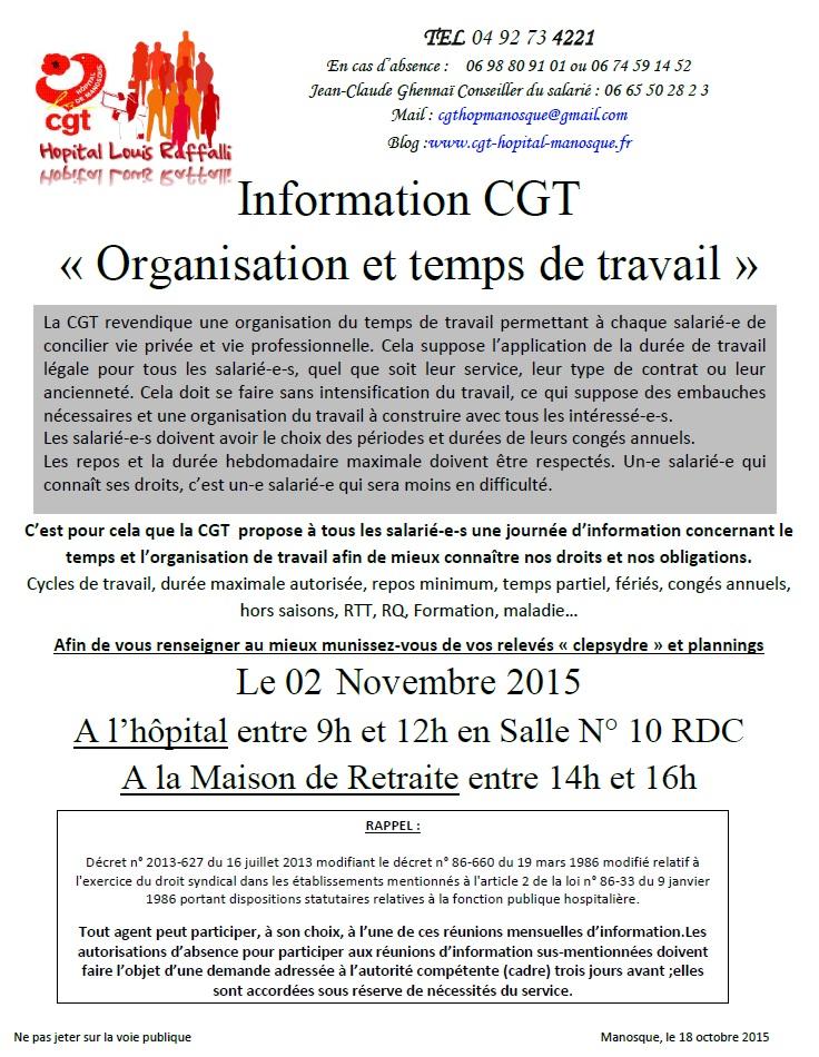 Tract CGT organisation et temps de travail