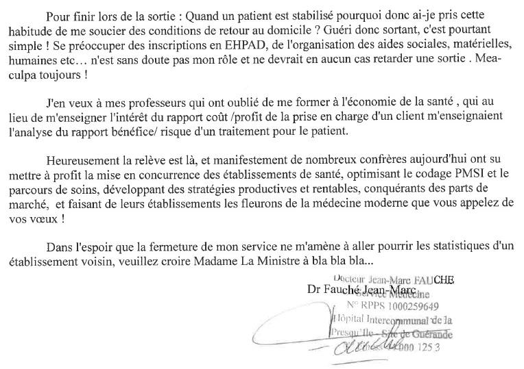 Lettre d'un médecin à la ministre 2