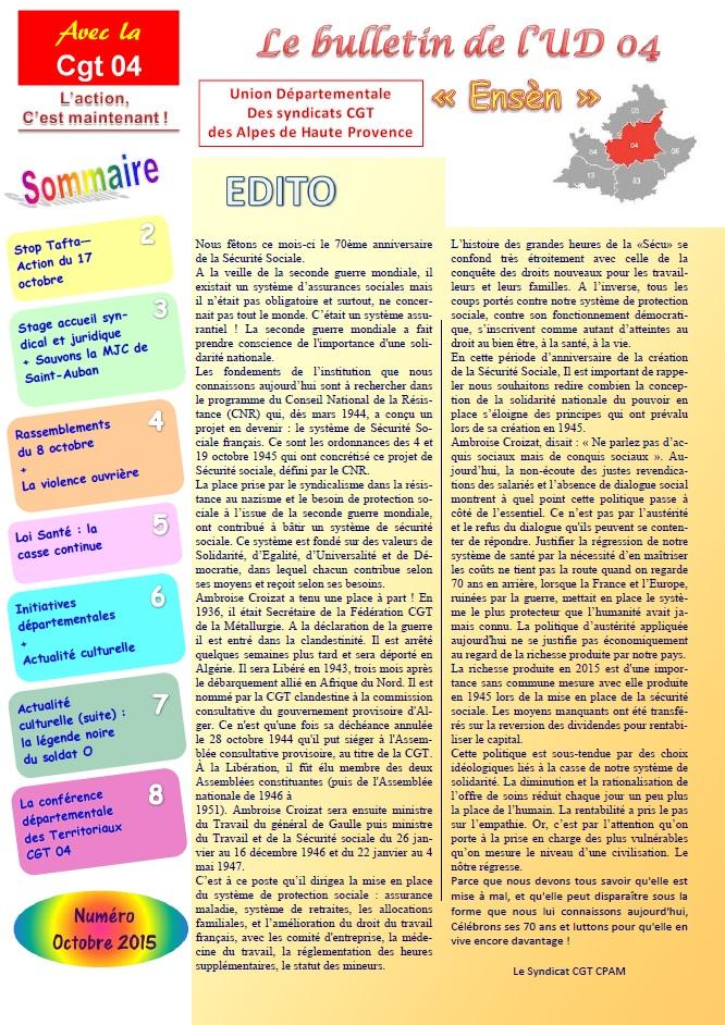 Journal UD CGT 04 octobre 2015