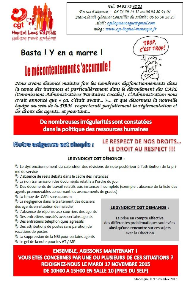 Tract CGT Hôpital politique DRH novembre 2015