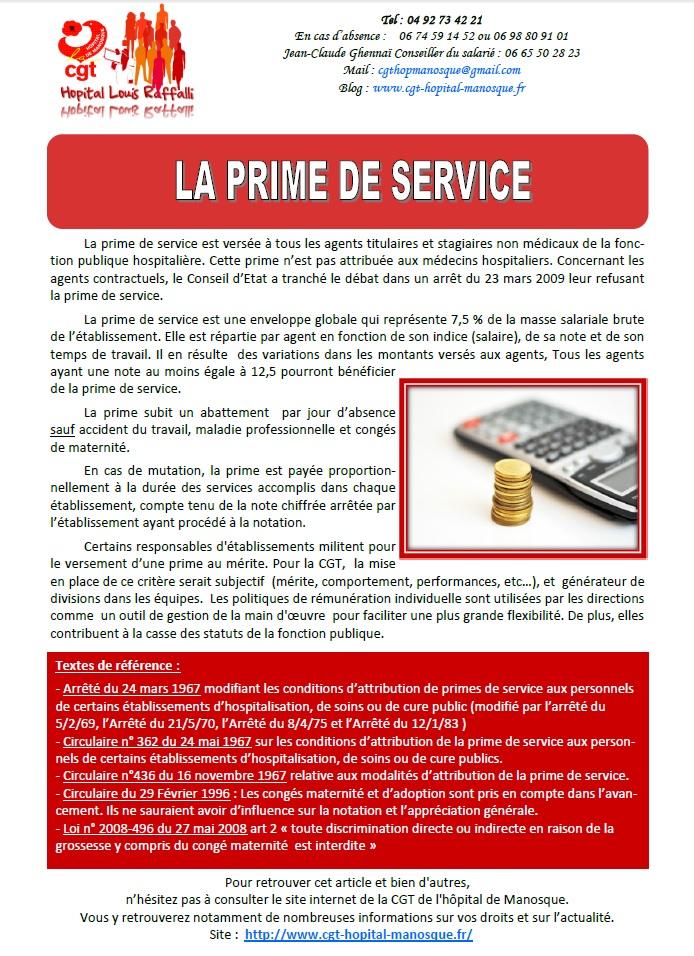 Tract sur la prime de service