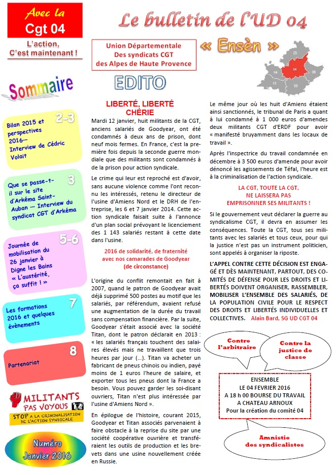 Sommaire journal UD CGT 04 janvier 2016