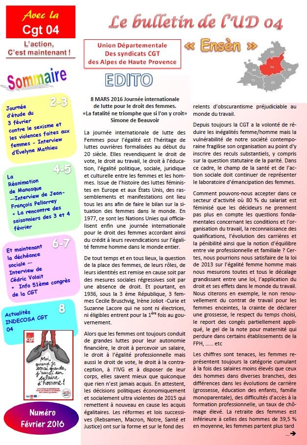 Sommaire UD CGT 04 février 2016 V2