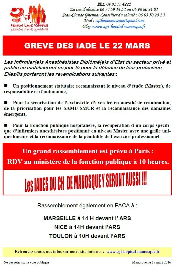 Tract Grève IADE 22 mars
