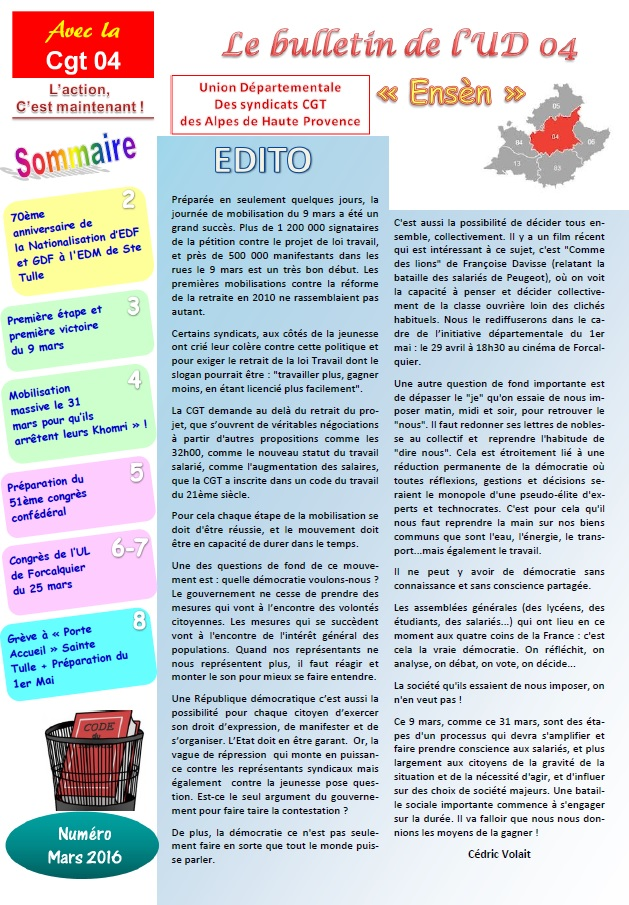 698. Sommaire journal UD CGT