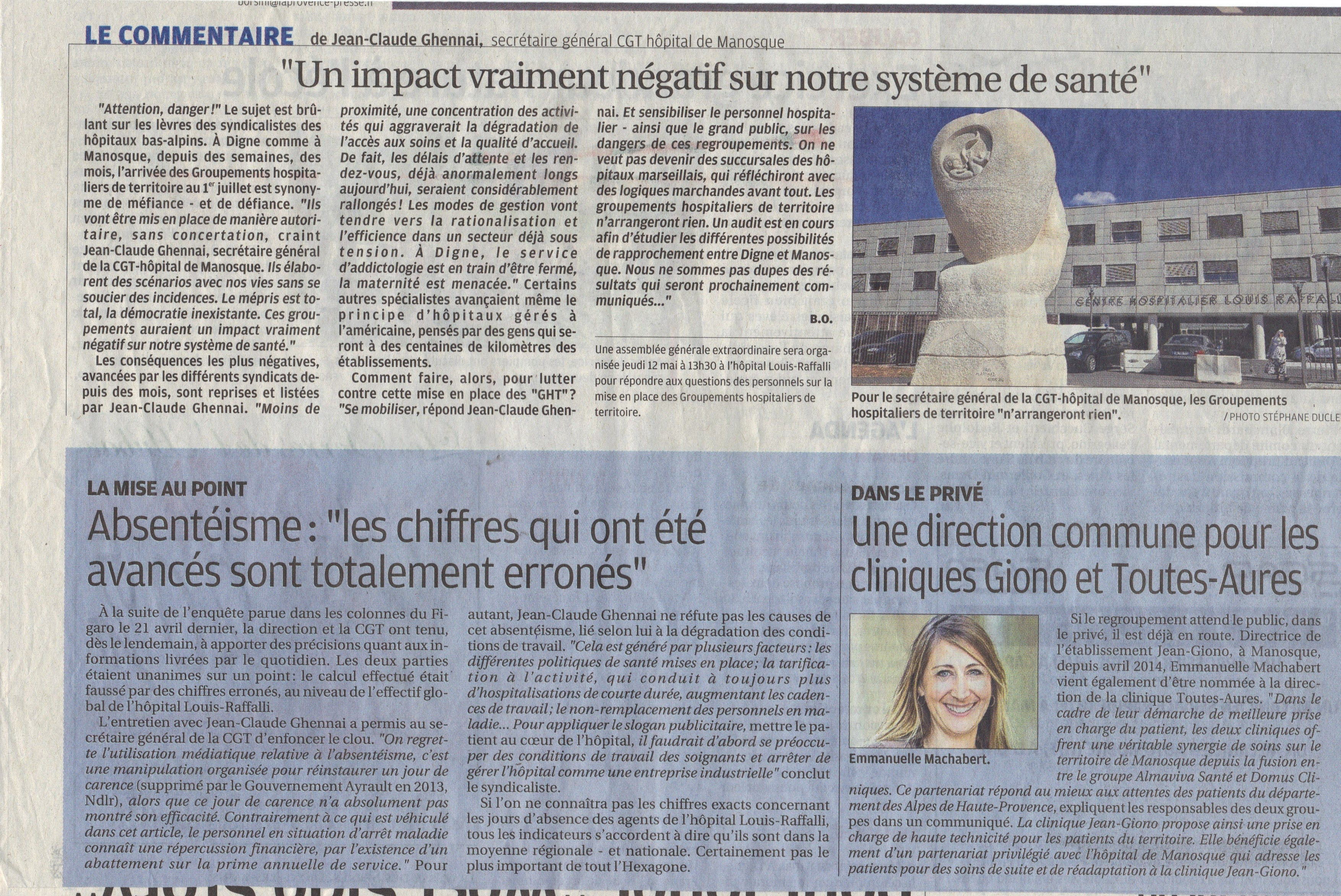 Article La Provence CGT GHT (2)