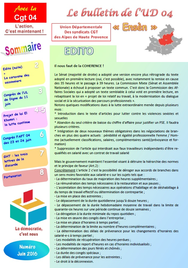 Sommaire journal UD CGT 04 juin 2016