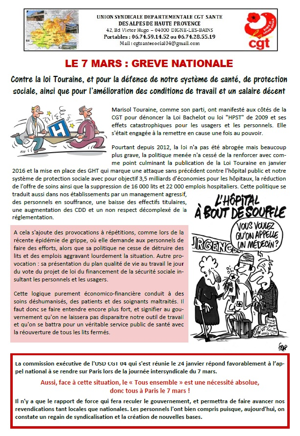 Tract CGT USD pour le 7 mars 2017
