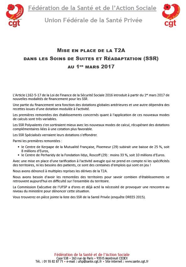 Mise en place de la T2A dans les SSR