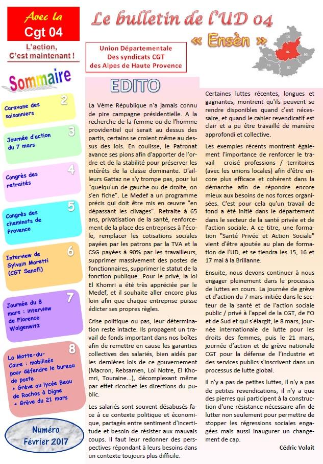 Sommaire Journal UD CGT 04 février 2017