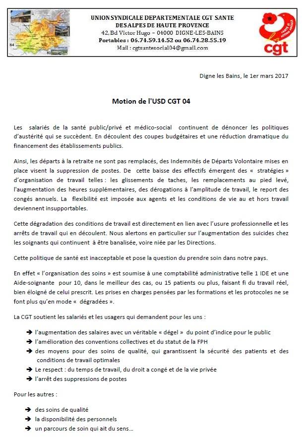 Motion USD CGT santé et action sociale 04
