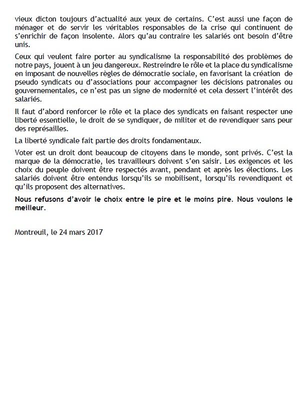 785. Elections présidentielles - Déclaration de la CGT (p2)