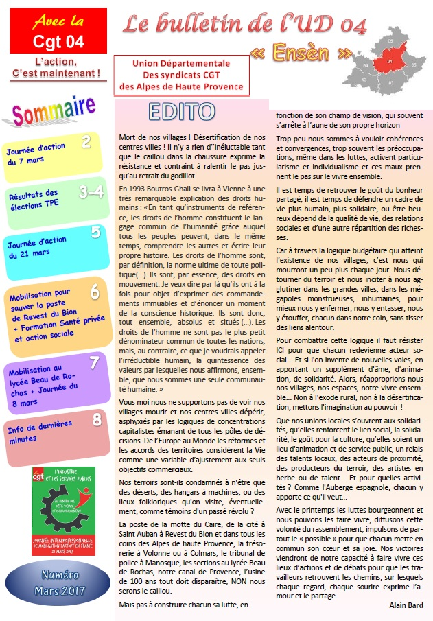 Sommaire journal UD CGT mars 2017