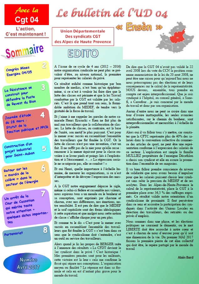 802. Sommaire Journal UD CGT avril 2017