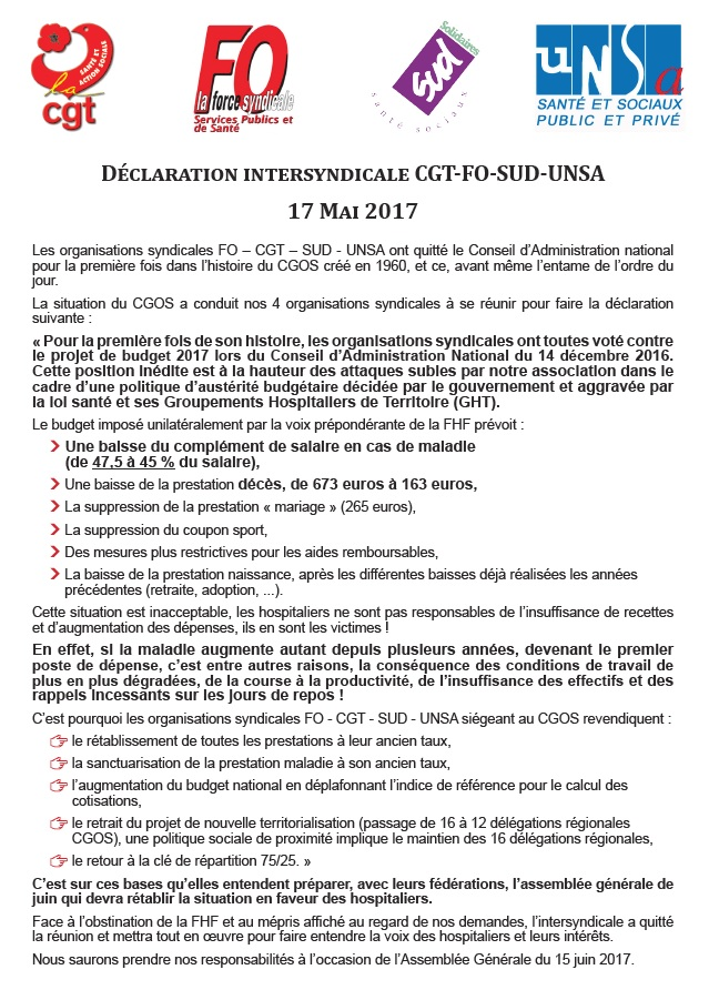 Déclaration intersyndicale CGOS