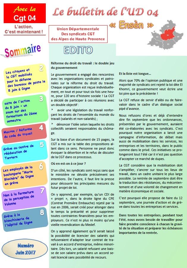 821. Sommaire journal UD CGT 04 juin 2017