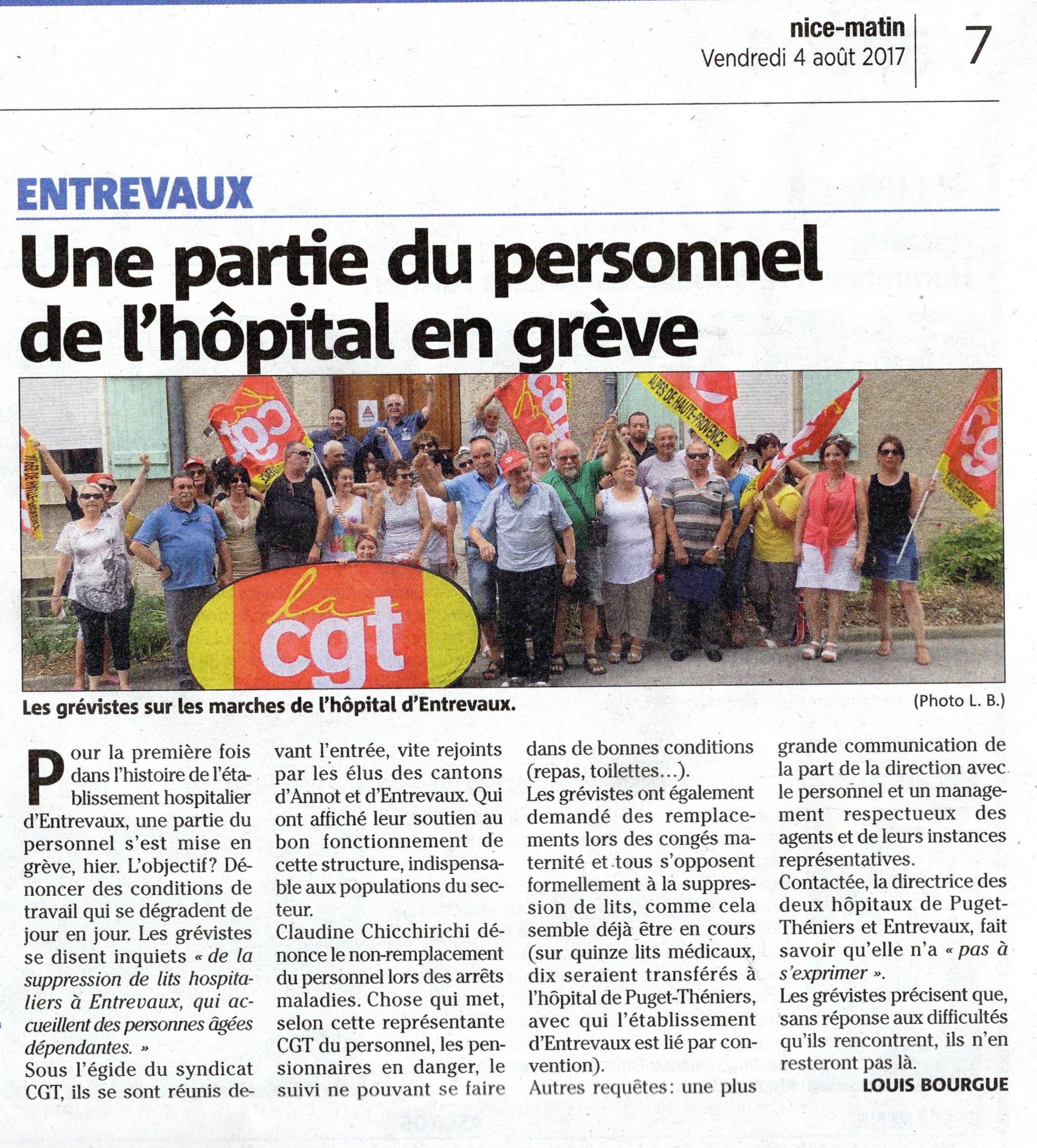 836. Grève Entrevaux Nice Matin 4 août 2017