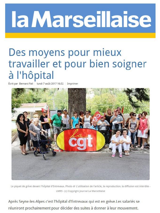 837. Article La Marseillaise grève hôpital Entrevaux (1)