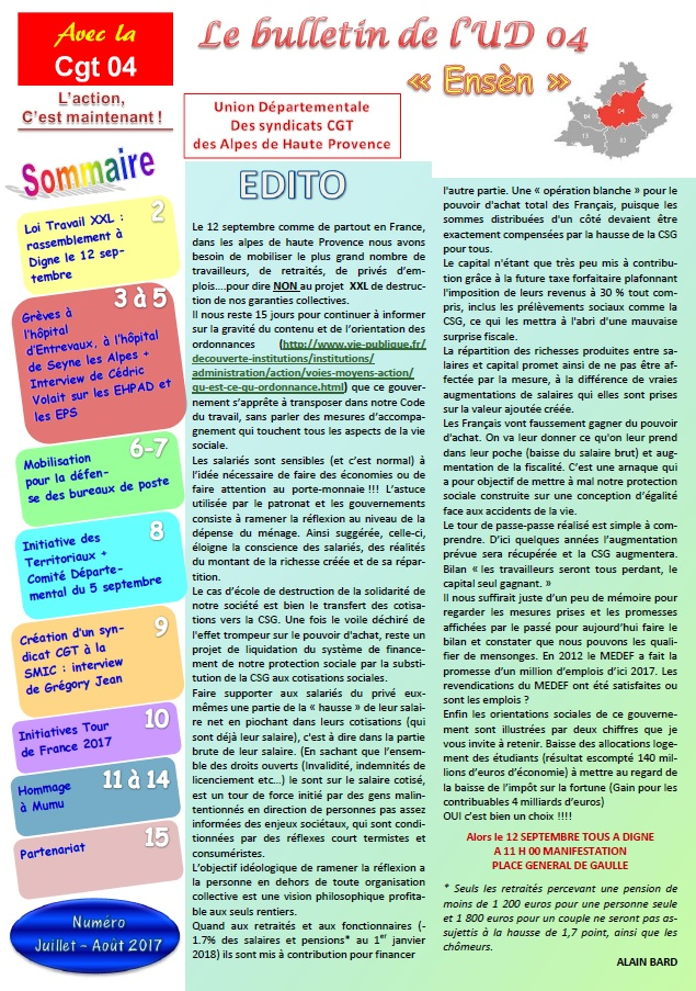 840. Journal UD CGT 04 juillet août 2017