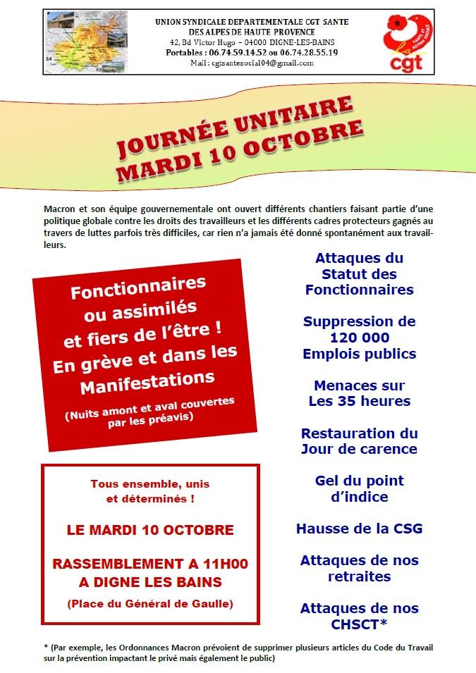 849. Tract CGT Fonction Publique 10 octobre