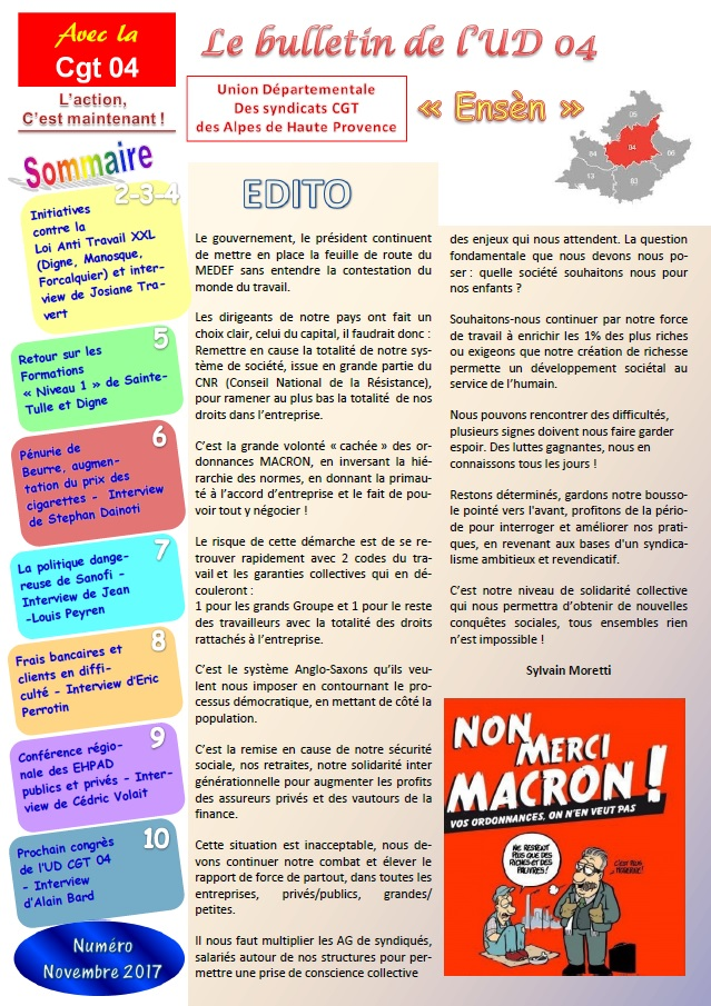 865. Sommaire Journal UD CGT 04 novembre 2017