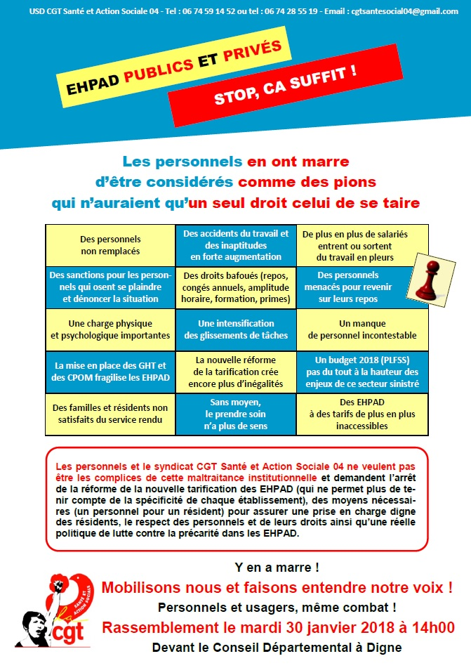 Tract EHPAD mobilisation du 30 janvier 2018
