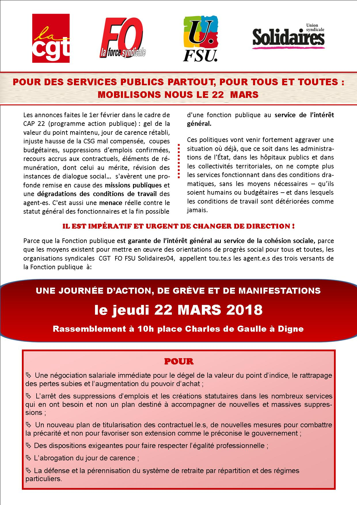 Tract UD unitaire 22 mars