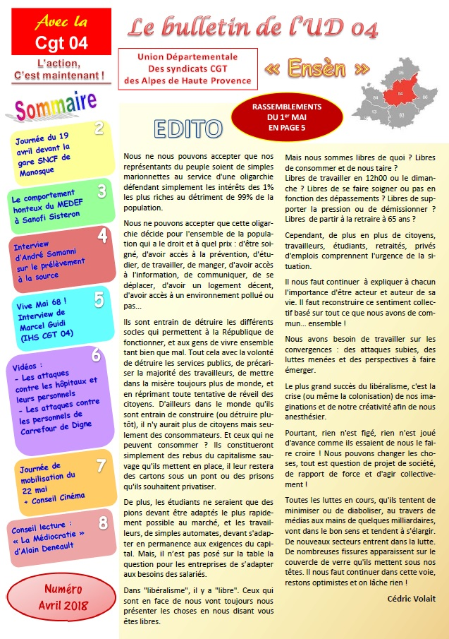 948. Sommaire journal UD CGT 04 avril 2018