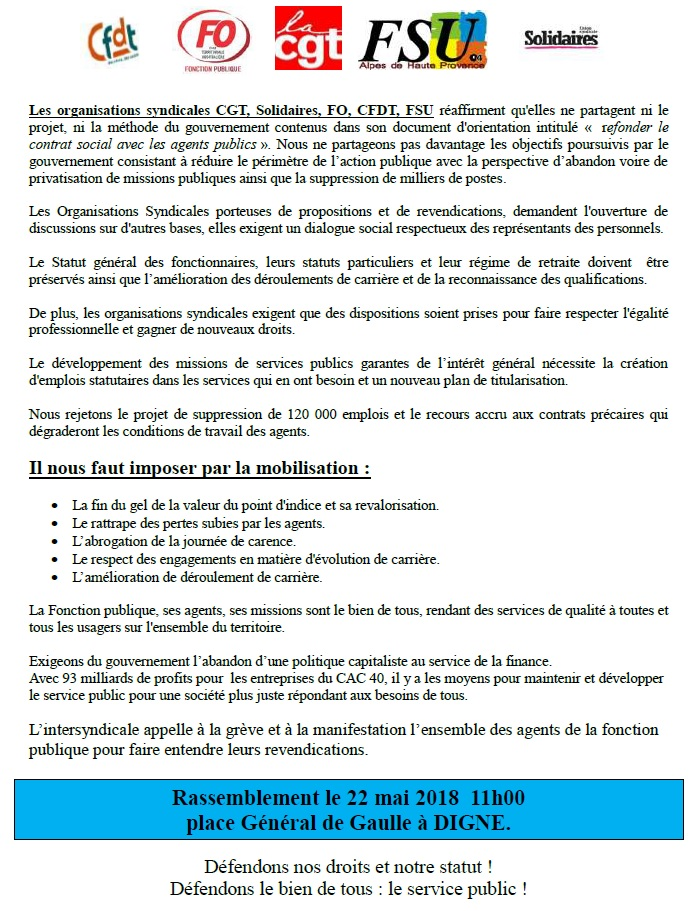 Tract intersyndical 22 mai 2018
