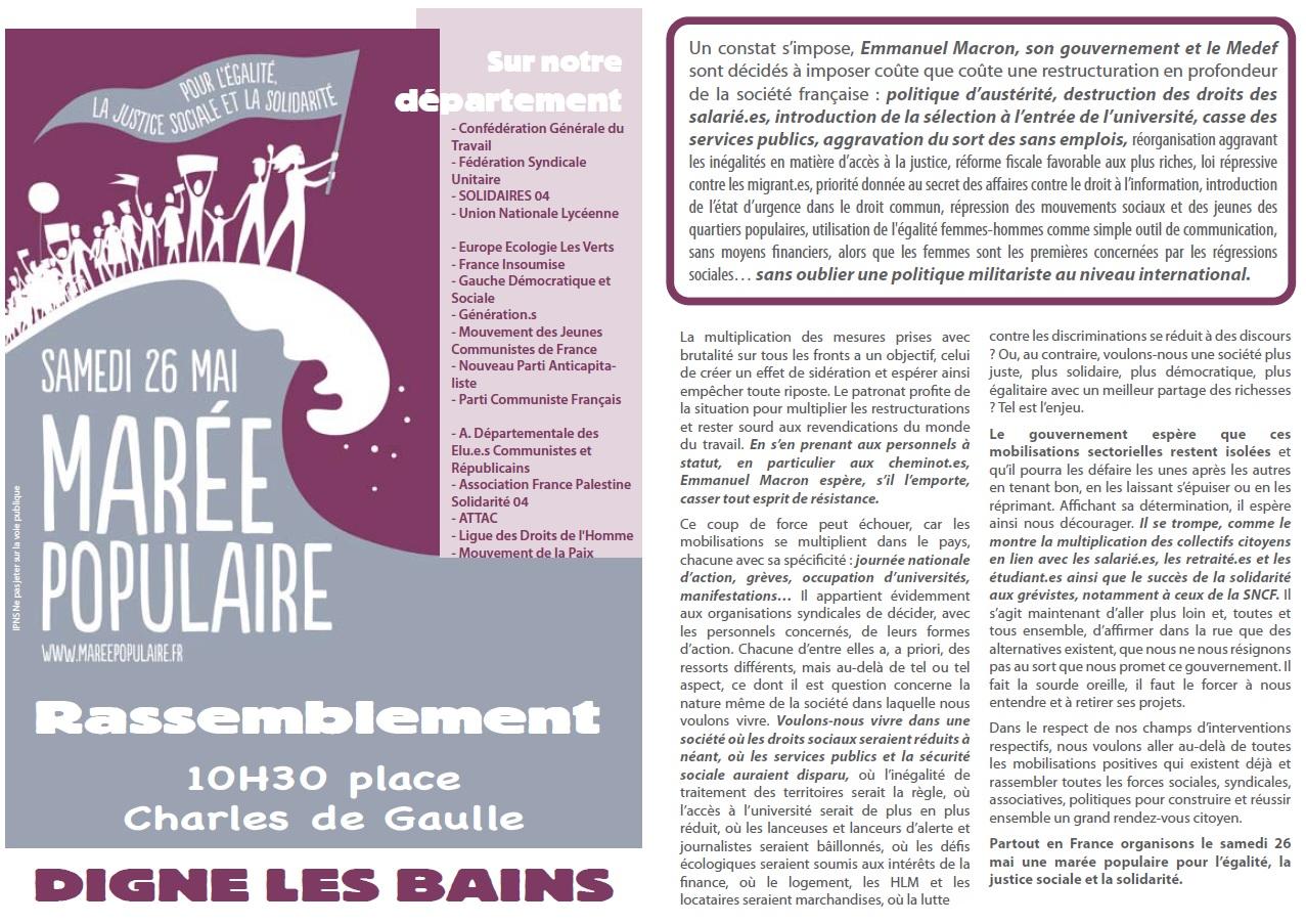 Tract Marée Populaire 26 mai à Digne les Bains