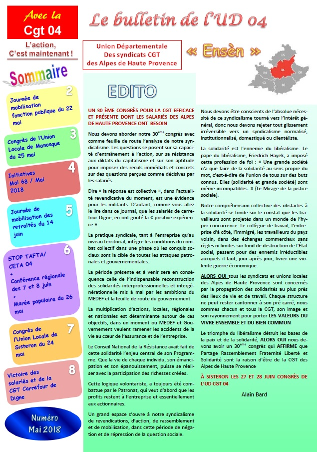 Sommaire journal UD CGT 04 mai 2018