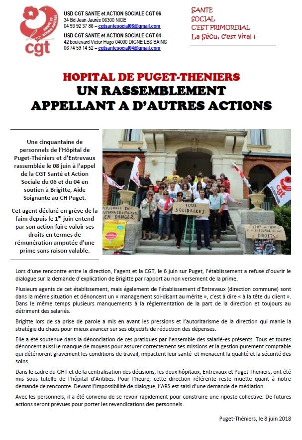Grève de la faim hôpital Entrevaux Puget Thénier