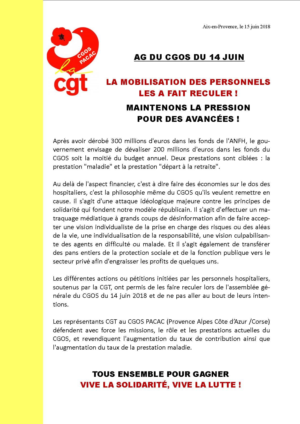 Communiqué CGT CGOS PACA Corse