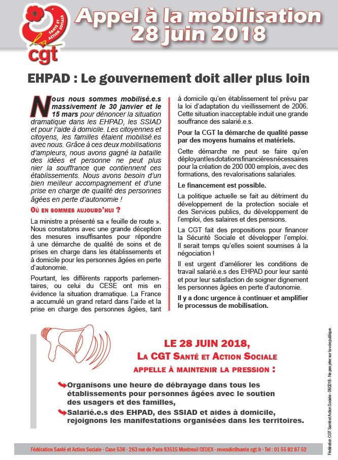 Tract Mobilisation EHPAD du 28 juin