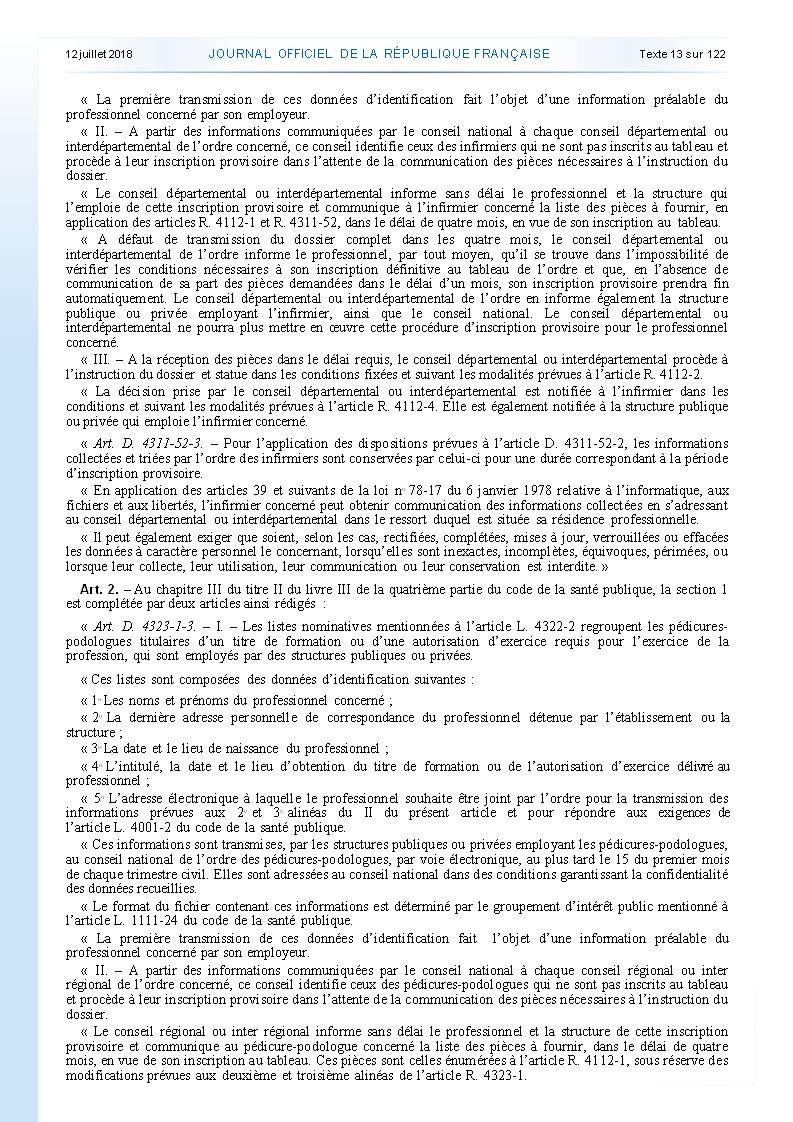 977. Décret du 10 juillet 2018 inscription ordre infirmier (2)