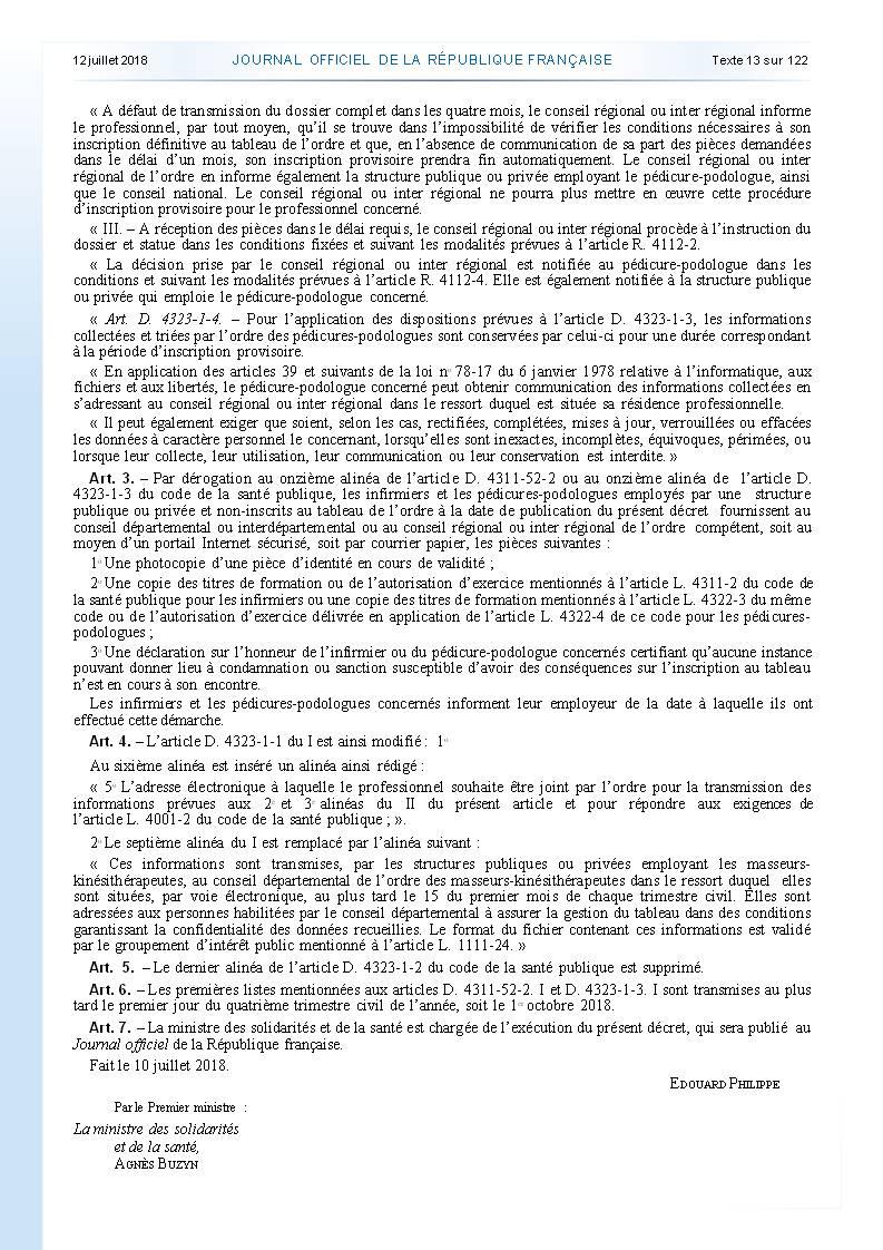 977. Décret du 10 juillet 2018 inscription ordre infirmier (3)