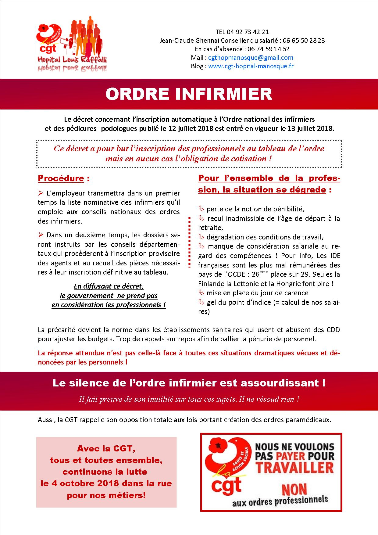 Tract inscription ordre infirmier ONI juillet 2018