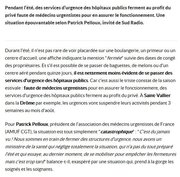 Interview Patrick Pelloux hôpitaux publics Sud Radio (2)