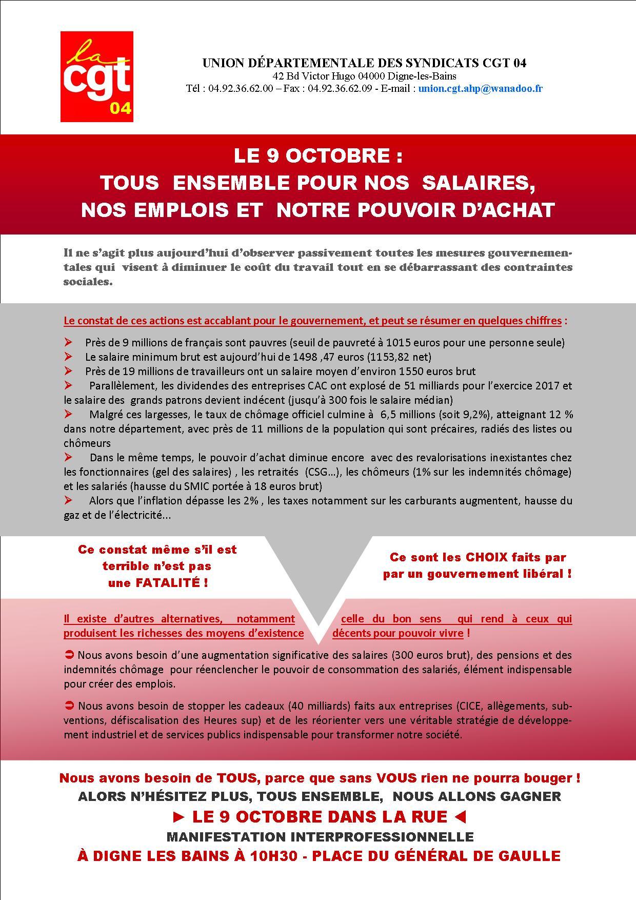 1002. Tract UD CGT mobilisation du 9 octobre