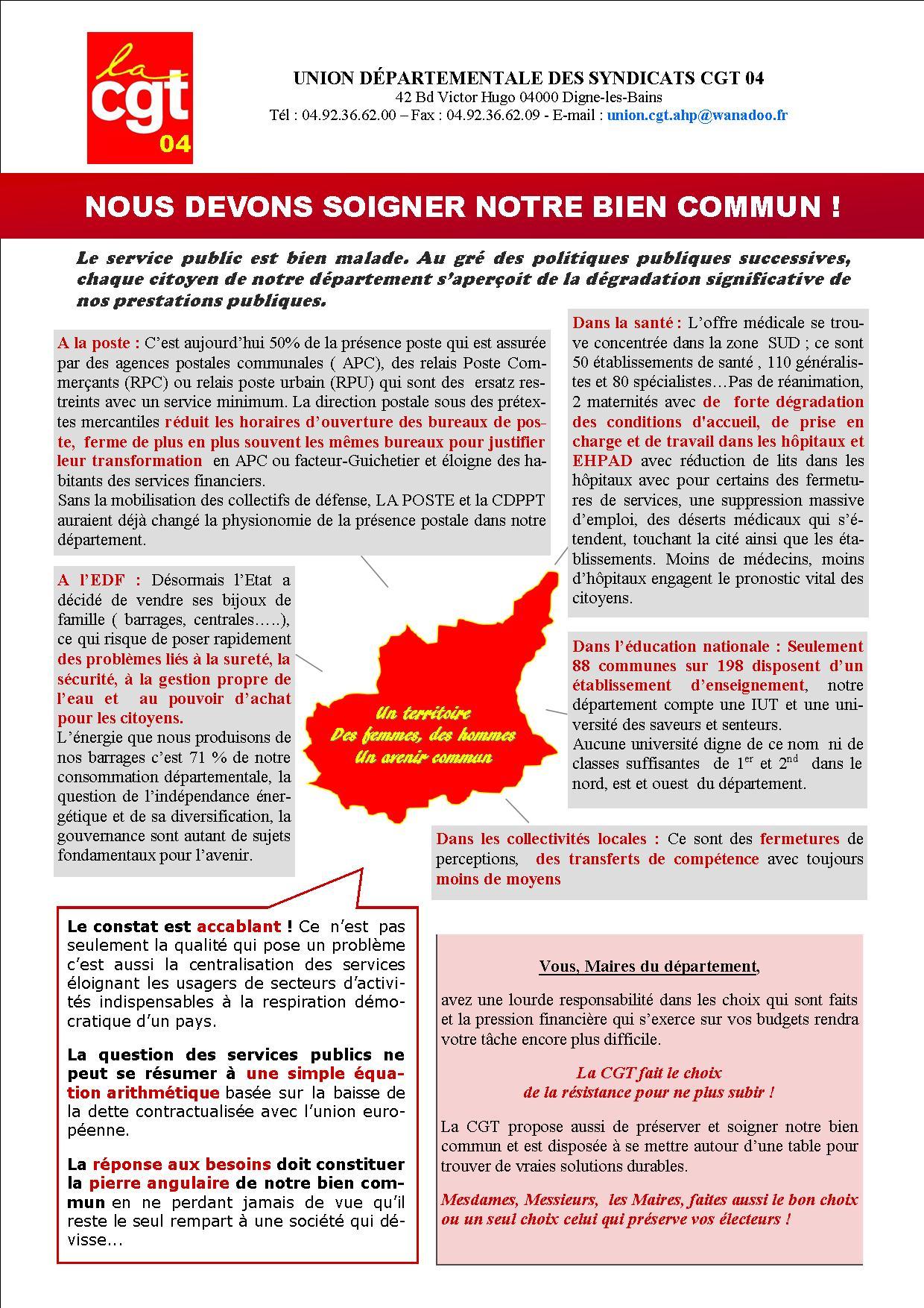 Tract UD CGT 04 pour le salon des Maires