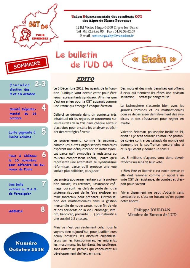 Sommaire journal UD CGT 04 octobre 2018