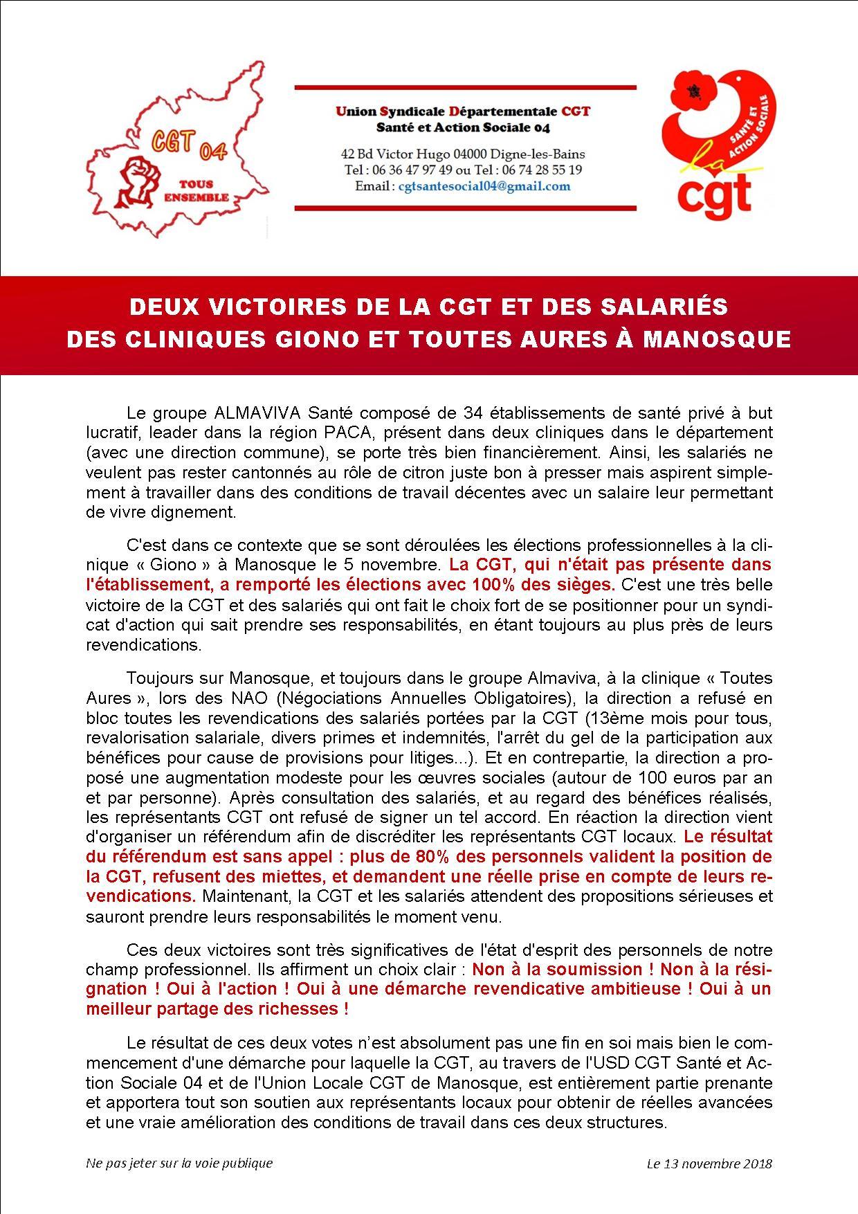 Communiqué CGT USD Santé Cliniques Almaviva Manosque
