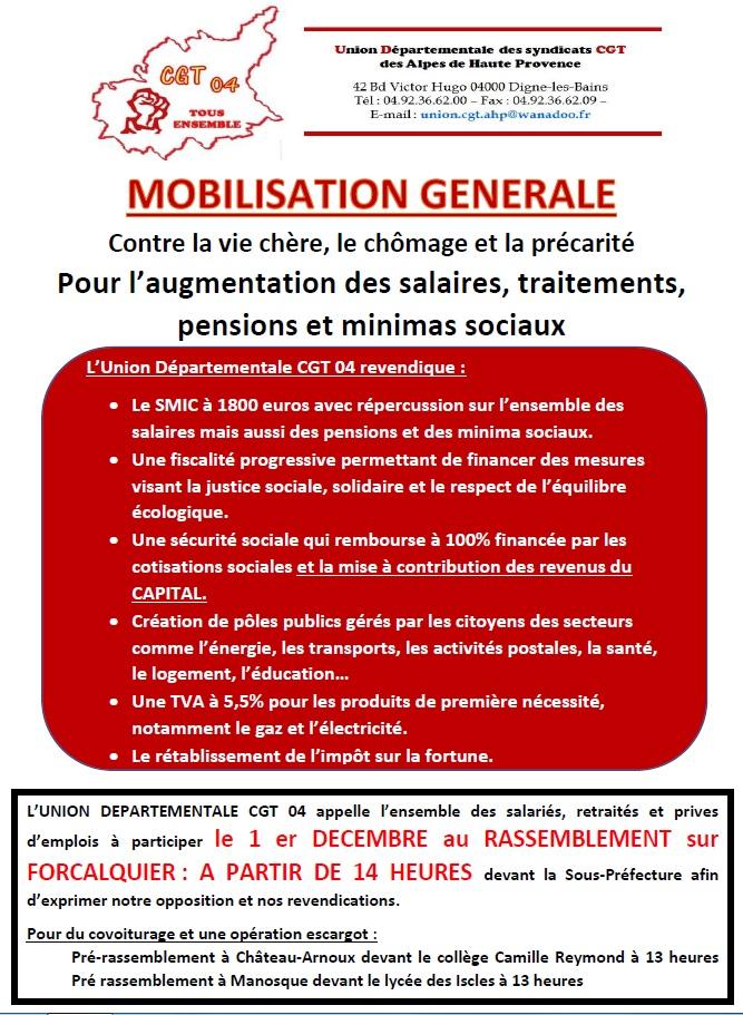 Mobilisation générale 1er décembre à Forcalquier