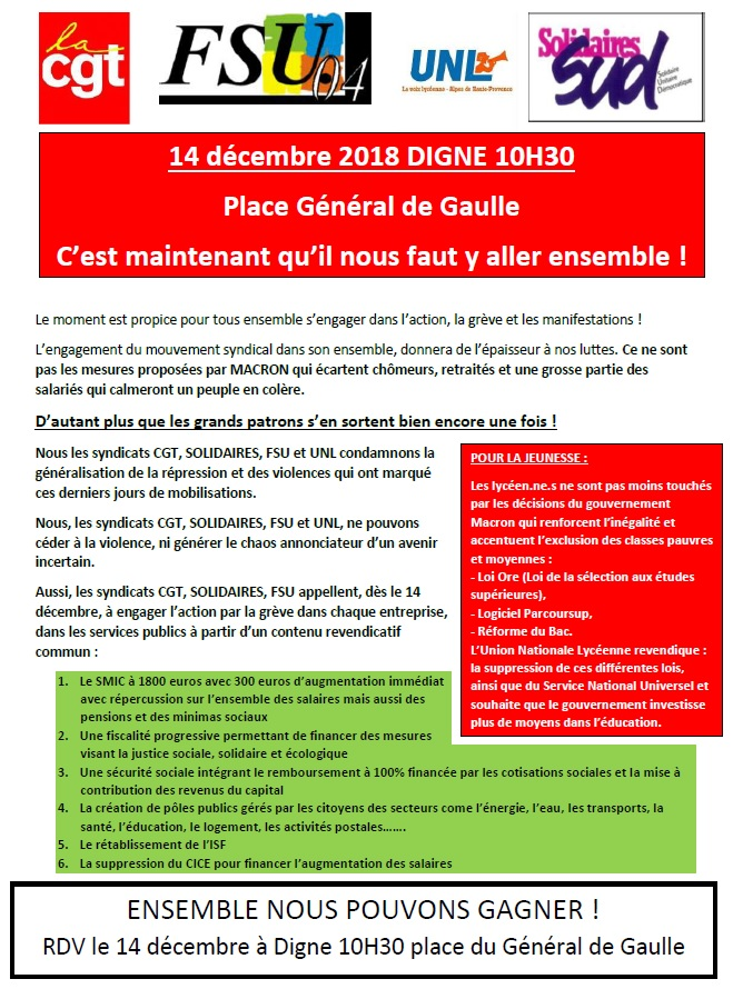 1033. Tract UD CGT 04 mobilisation Digne les Bains