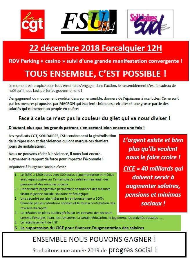 Manifestation convergente le 22 décembre à Forcalquier